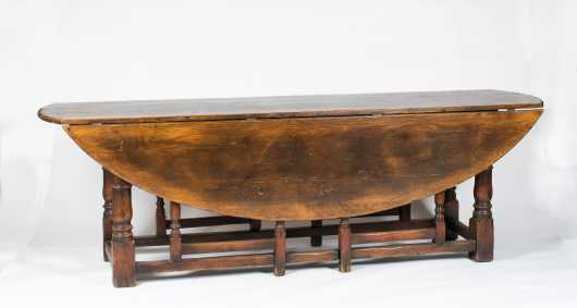 William and Mary Style Double Gate Leg Dining Table