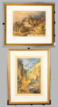 Watercolors by William Brockedon, UK (1787-1854), Attributed, and Heinrich Reinhold, Attributed
