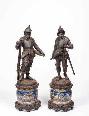 Pair of Continental Cast Iron Medieval Soldier Statues