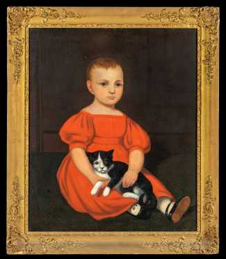 American Primitive Painting of a Young Girl with her Cat
