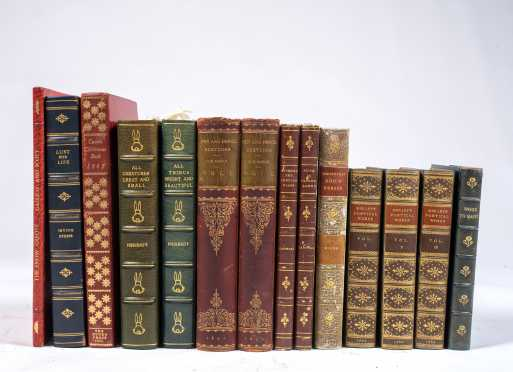 Fourteen Volumes with Leather Bindings, Antiquarian and Modern