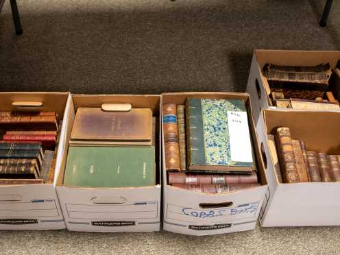 Five Boxes of Miscellaneous Leather-Bound and Antiquarian Books