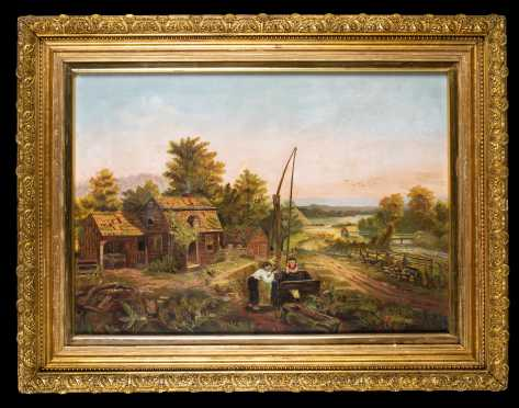 American Primitive Painting of Farm Yard with Children