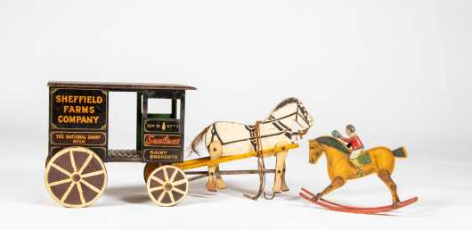 """Sheffield Farms Co"" Horse Drawn Delivery Wagon Model and Rocking Horse"