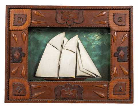 Tramp Art Sailboat Shadow Frame
