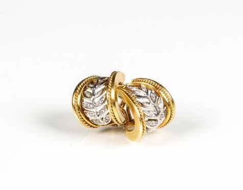SeidenGang 18K Two Tone Gold and Diamond Hoop Earrings