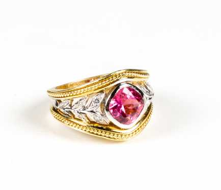 SeidenGang 18K Two Tone Gold, Diamond and Tourmaline Ring