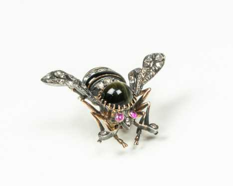Antique Jeweled Silver on Gold Insect Brooch