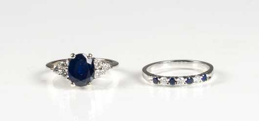 Two White Gold Sapphire and Diamond Rings