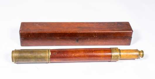 "19thC ""Cutts, London"" Brass Mahogany Telescope"