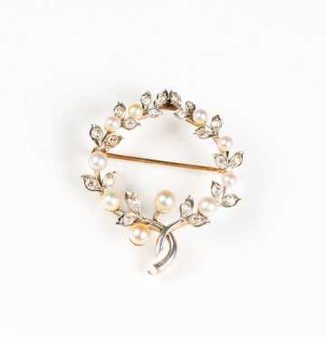 Antique Diamond and Pearl Foliate Brooch