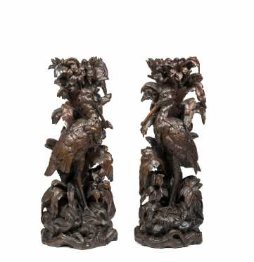Important Pair of Black Forest Bird Carved Plinths