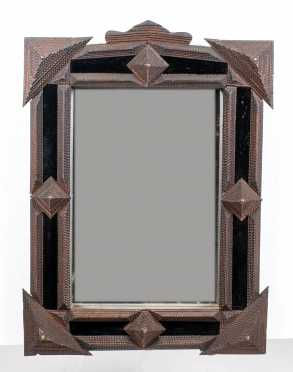 Tramp Art Deep Case Mirror