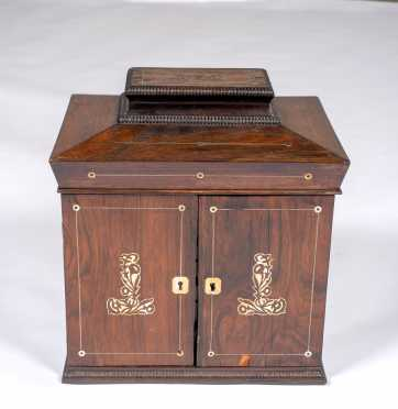 English Regency Rosewood Mother of Pearl Inlaid Dressing Box