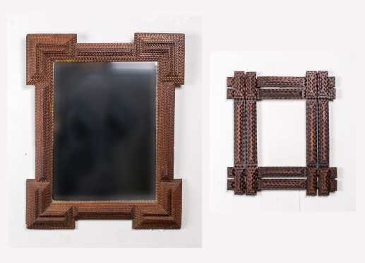 Two Tramp Art Frames with One a Mirror