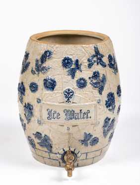 "Vintage ""Whites Utica, NY"" Stoneware Ice Water Cooler"