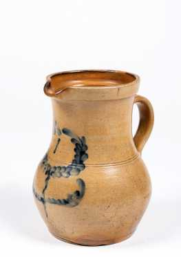 One Gallon 19thC Stoneware Pitcher with Blue Wreath