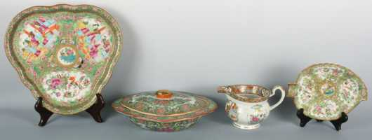 Lot of Rose Medallion Serving Pieces