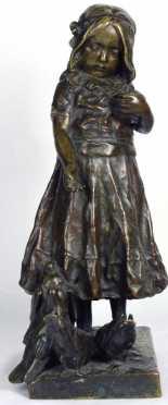 Caesar Philipp, cast bronze figure of a young girl feeding pigeon
