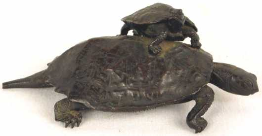 Chinese Bronze Casting of Two Turtles