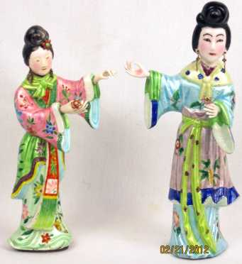 Chinese Enamel on Silver Female Figurines