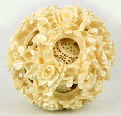 Chinese Ivory Carved Puzzle Ball