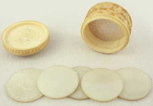 Ivory Carved Circular Whist Box With Mother of Pearl Whist Markers