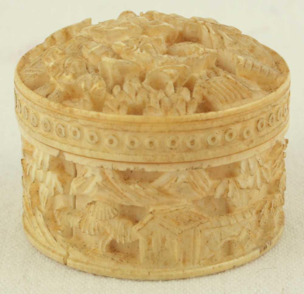 Ivory carved circular whist box with mother of pearl