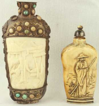 Metal and Ivory Carved Snuff Bottles