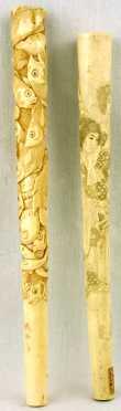Two Japanese Ivory Tusk Parasol Handles