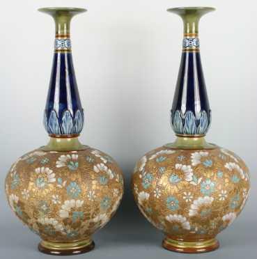 Pair of Doulton Lambeth Vases
