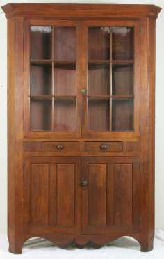 Cherry Glazed Door Corner Cupboard
