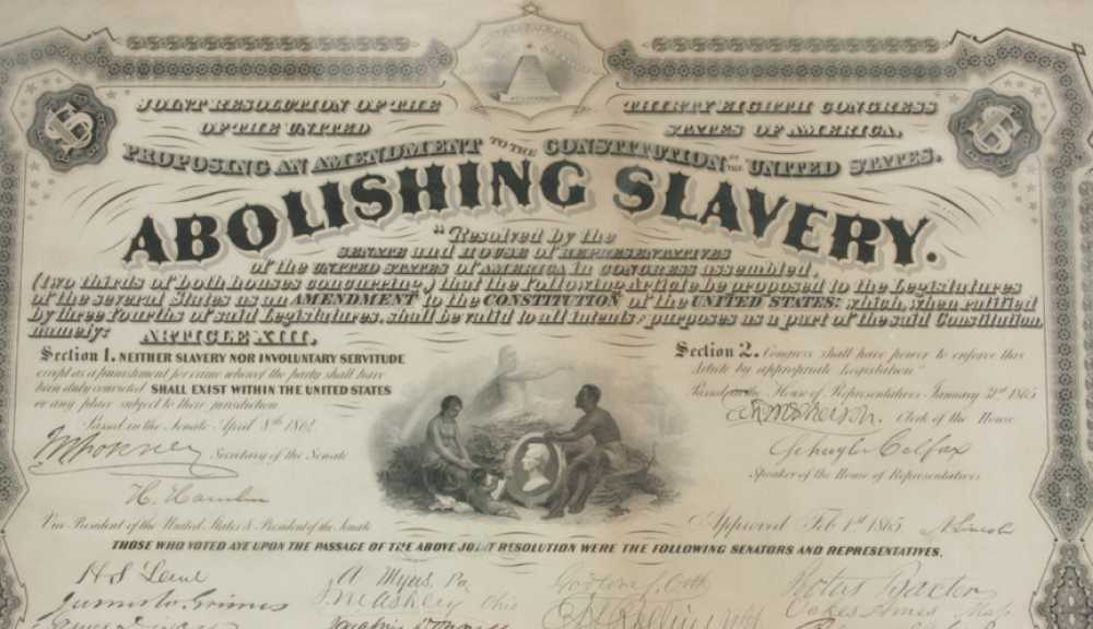 Abolishing Slavery Document Early Copy Of The Joint