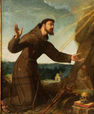 Italian School, 18/19th century oil on canvas of St. Frances of Assisi receiving the stigmata