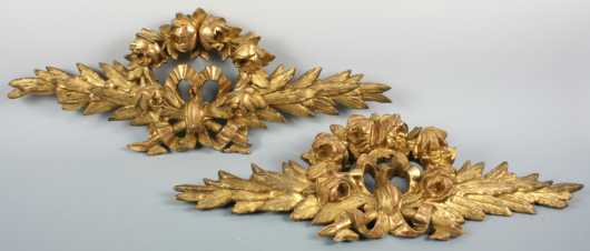 Pair Carved and Gilt Wooden Garnitures