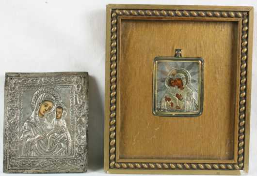 Two Russian School Silver Icons