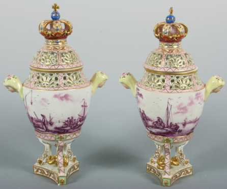 Pair of Dresden Porcelain Covered Urns