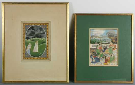 Lot of Two Mughal Style Indian Miniatures
