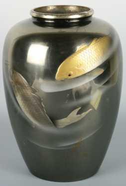 Japanese Damascene Style Vase