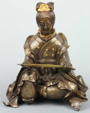 Mixed Metal Figural Bronze Statue of a Female seated figure