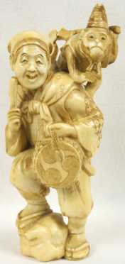 Japanese Carved Ivory Figure of an entertainer