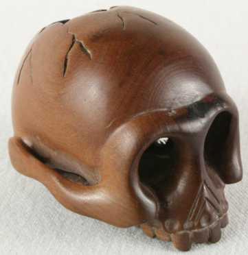 Carved Wooden Katabori Netsuke of a skull