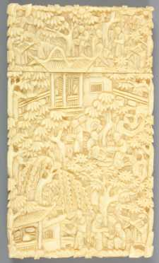 Chinese Ivory Carved Card Case