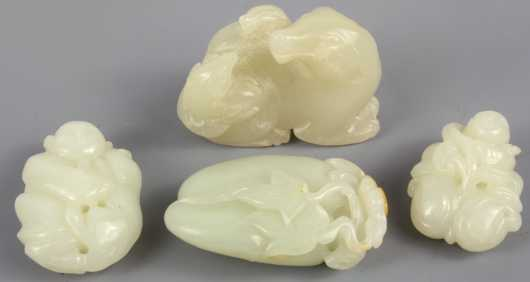 Lot of Four Miniature White Jade Carvings