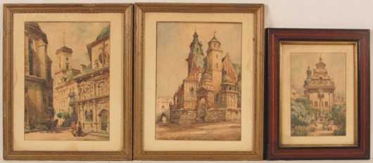 W.  Ladyslaw T. Chemielinski,  pair and a single watercolor paintings
