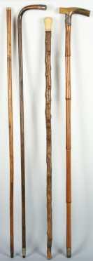 Four Antique Walking Sticks