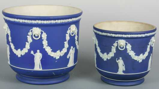 Two Wedgwood Cache' Pots
