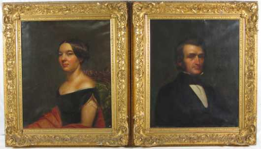 Pair of American Portraits, oil on canvas of James Kent Hitchcock and his wife Mary Kellog