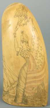 Ivory Whales Tooth with scrimshaw
