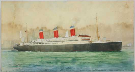 """William Minshall Birchall watercolor  of the """"SS Leviathan, leaving NY,"""""""